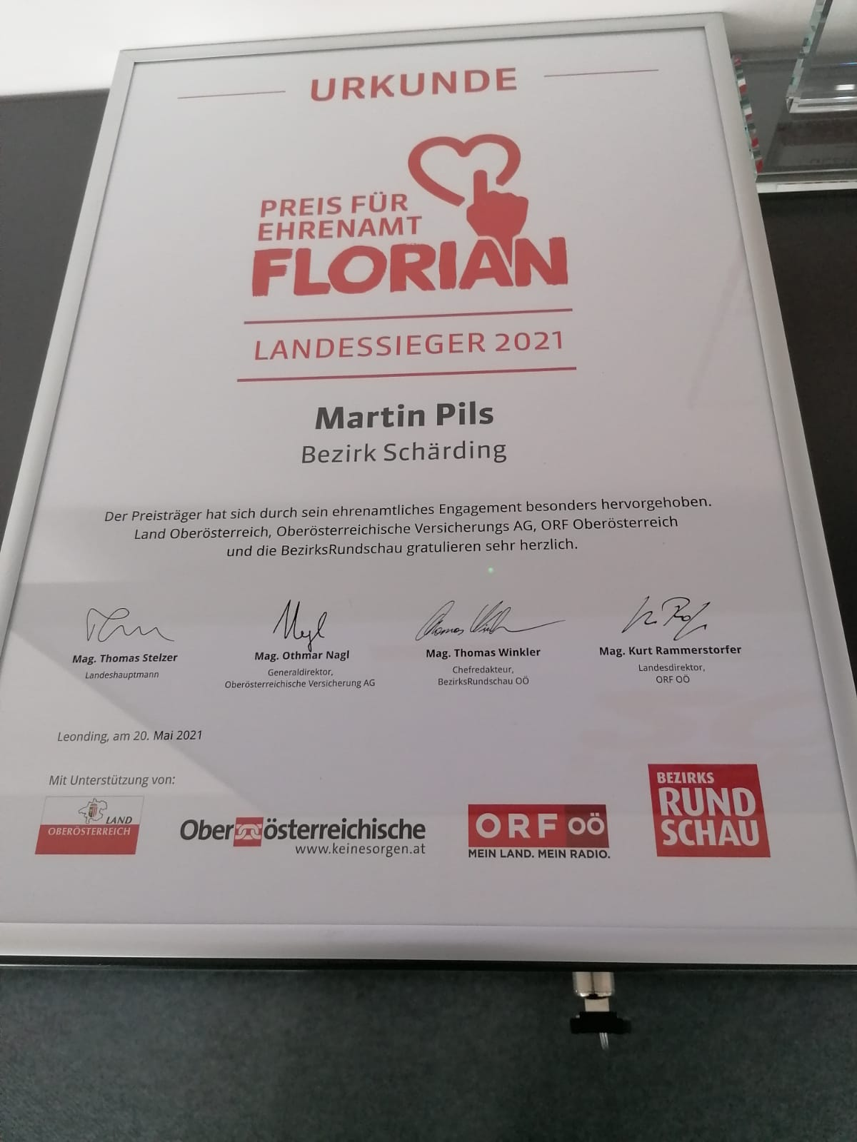 Florian 2021 - der Preis fürs Ehrenamt