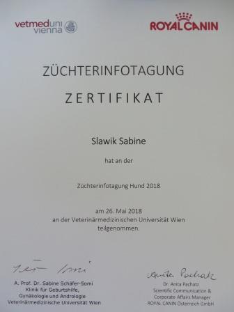 zertifikat hundezuchtinfotagung 2018jpg