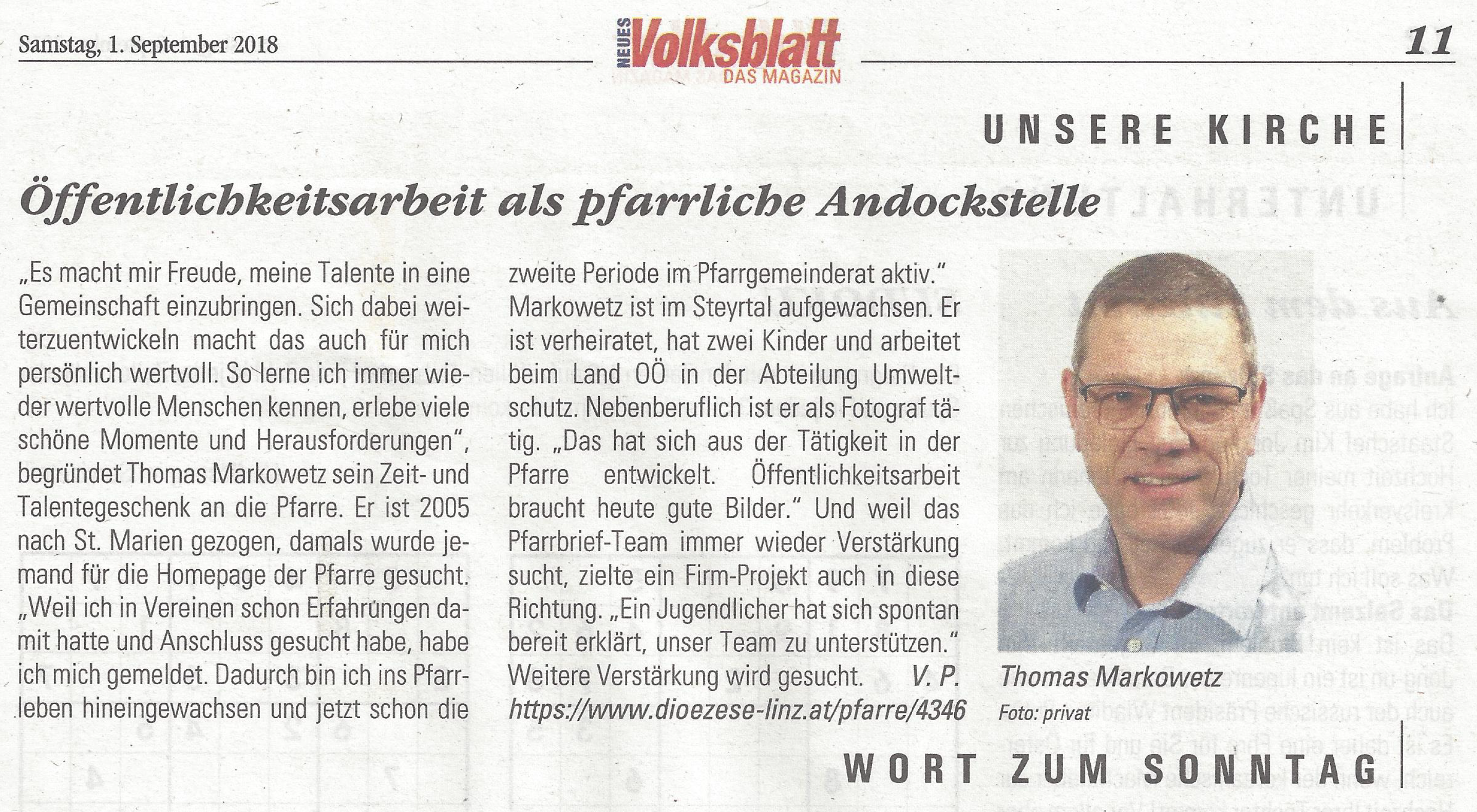 Interview im Volksblatt am 1.9.2018