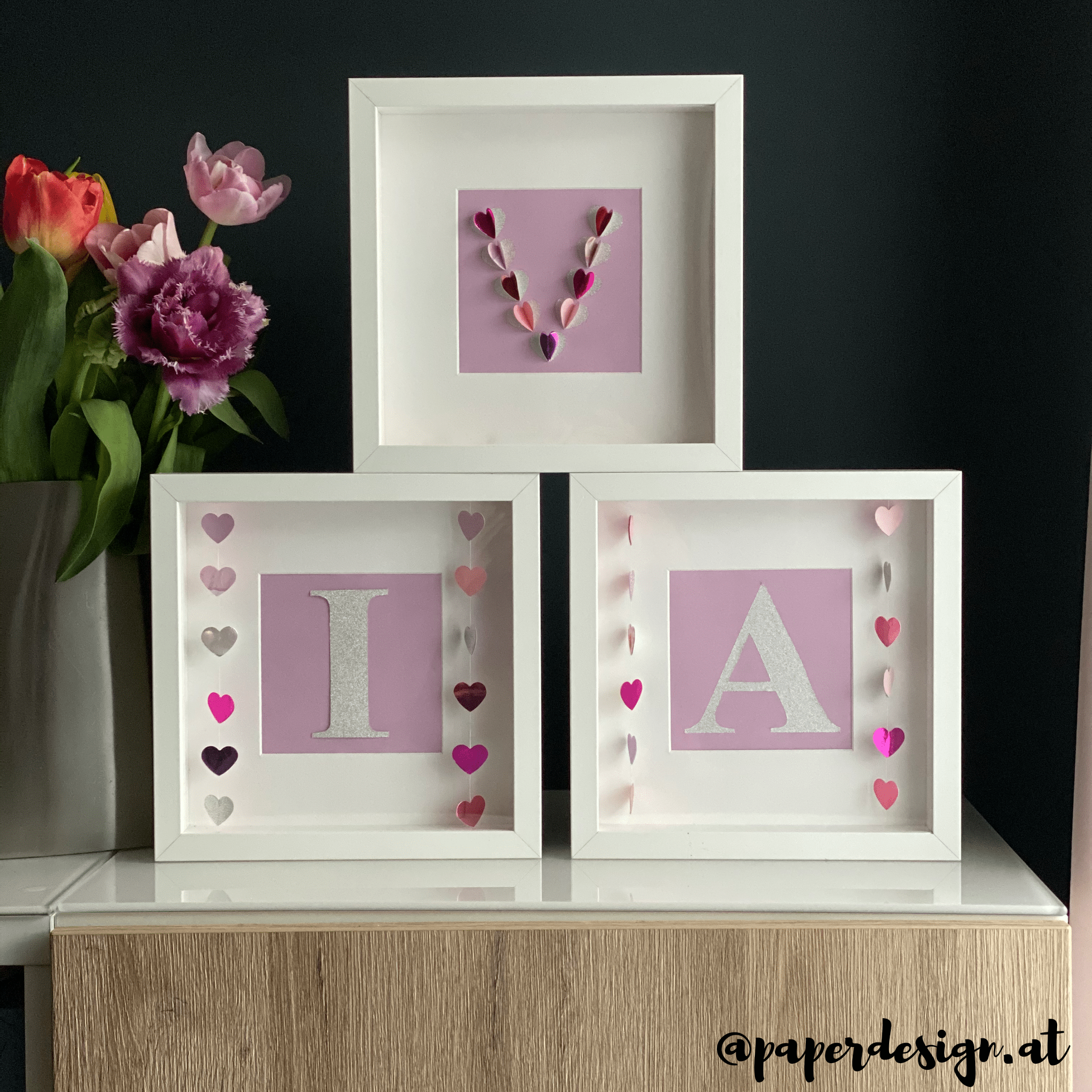 "3er Set Shadow Boxes ""Pink Heart"""